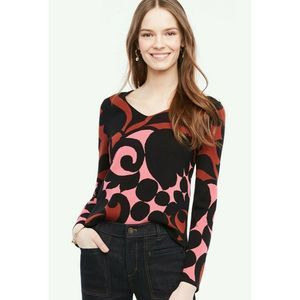 Ann Taylor Sweater Tulip V Neck Long Sleeve Floral